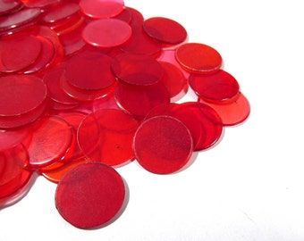 Bingo Chips VINTAGE BINGO Chips All Red One Hundred (100) Plastic Vintage Bingo Chips Discs Vintage Art Supplies Vintage Game Pieces (T161)