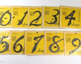 """Vintage Plastic Numbers 3"""" YOUR CHOICE Black Plastic Numbers Creative Script Cursive Numbers 1 - 0 Assemblage Signage Supplies (F112)"""