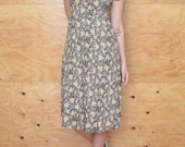 Vintage 80's Dress Grunge Revival Summer Calico Floral Print In Green, Yellow & Black SZ S