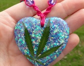 REAL Marijuana Leaf Hemp Necklace - Fire Opal Heart Pendant - Roach Clip Clasp