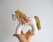 Unicorn, organic, magical creature, fairytale, magic horse, white, colorful, rainbow, fantasy, felt, Waldorf, imagination play