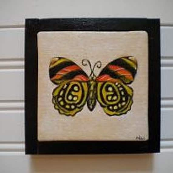 Spotted and Striped Yellow and Orange Butterfly Orginal Oil Painting - Framed