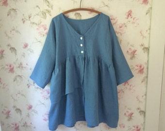 Blue Linen Jacket Prairie Jacket Lagenlook One Size 48 Bust
