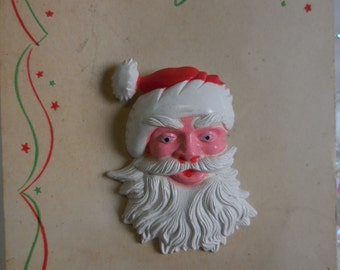 Vintage Christmas Jewelry Santa Claus face pin Brooch on card Holiday festive jewelry