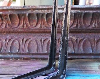 2 Vintage Brackets metal Rusty crusty painted black Supplies