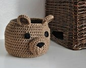 Brown Bear Basket Crocheted Bin Teddy Bear Nursery Decor Woodland Home Organizer