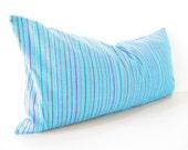 Mexican embroidered pillow, Tribal pillow, Mexico Pillow BLUE lumbar bohemian decor long Lumbar pillow, Pillowcase aztec, Boho room Decor,