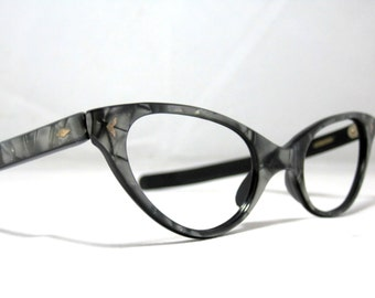 Reserved: Vintage 60s Cat Eye Eyeglasses. Gray and Silver with Design. New Old Stock NOS