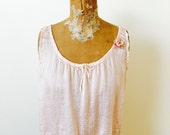 Antique Edwardian Pink Silk Camisole/Ribbon rosettes/Pastel Pink