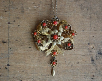Victorian Rococo Revival coral pendant brooch
