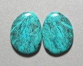 TURQUOISE matching pair cabochon freeform two 24X32mm designer cabs