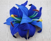 Pin up hair double lily flower in intense royal blue vintage style rockabilly wedding 50s bridal hairpiece hairflower
