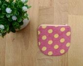 Mini Zipper Coin purse, Cute Zip Purse, Change purse, Girl Purse, Polka Dot