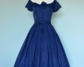 Vintage 1950s Day Dress...NELLY DON Navy Blue Dress with Pique Collar
