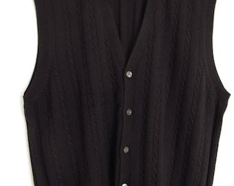 Patrick James Cardigan Vest Cable Knit Black Merino Italian Wool Viyella Men's Size XL 46-48 Extra Large Button Up Button Down Sweater Vest