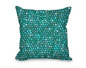 Teal Throw Pillow Cover, modern pillow cover, teal and gray mosaic design, home decor, decorative pillow cover, printed accent pillow