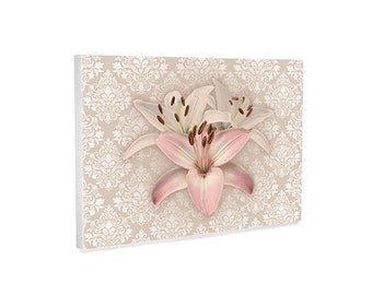 Gallery Wrapped Canvas, pink floral wall art, lilies on damask canvas art, bedroom decor, wall decor, pink decor, ready to hang