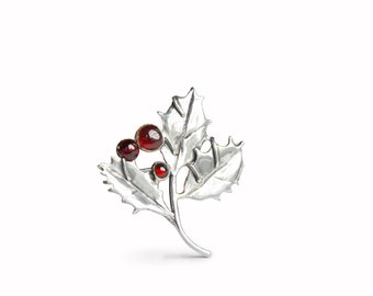 Holly with Garnet Sterling Silver Pin