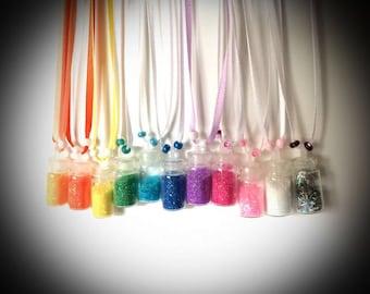 Faith Trust & Pixie Dust - customizable ribbon glitter fairy dust necklace
