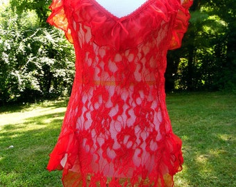 Vintage Red Lace Ruffled 1980s Nylon Teddy Sweetheart Bust Fire Red Vintage Lingerie sz Large