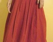 Vintage Laura Ashley Corduroy Skirt. Boho Cinnamon Orange Corduroy Skirt.  Corduroy Pleated Sjirt.