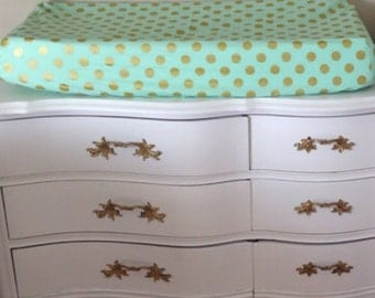Custom Mint and Metallic Gold Dot Changing Pad Cover matches buttercup bedding collection