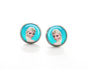 Titanium Earrings Frozen Elsa Studs | Hypoallergenic Sensitive Earring Stud | Girls earrings | Children Titanium earrings for sensitive ears