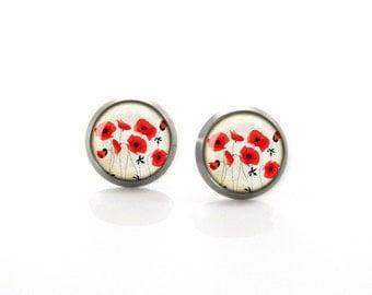 Red Vintage Poppy flowers Titanium Post Earrings | Hypoallergenic Earring Stud | Titanium Earring Stud | Sensitive jewelry post studs