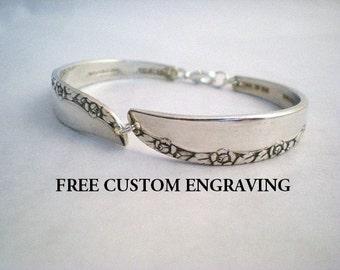 Spoon Bracelet, FREE ENGRAVING, Silverware Jewelry, Bracelet Bridesmaid Wedding Vintage Brittany Rose 1948