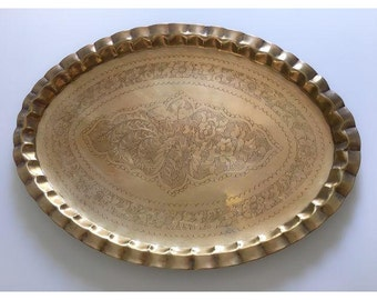 morrocan style oval brass tray