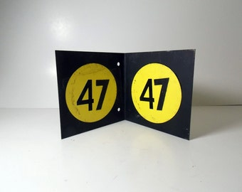 Vintage Metal Number Sign / Double Sided Sign / Stand Alone Sign / Black and Yellow / Number 47 / Industrial Decor / Rustic Design/ Numbers
