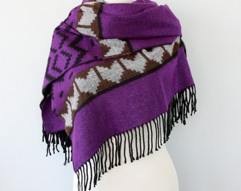 Native scarf Boho chic shawl Tribal winter scarf Aztec blanket scarves Winter wrap Bohemian Geometric large hippie scarf Purple Violet Black