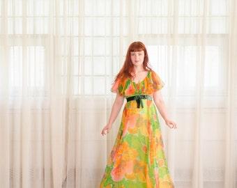 70s Chiffon Gown - Vintage 1970s Dress - Boca Beach Chiffon Dress