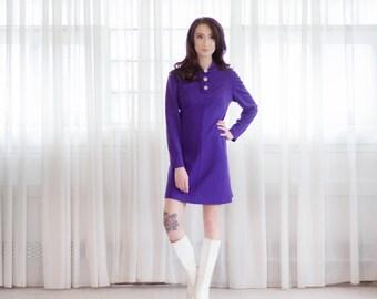 Vintage 1960s MOD Dress - Wool 60s Mini Dress - Royale Wool Dress
