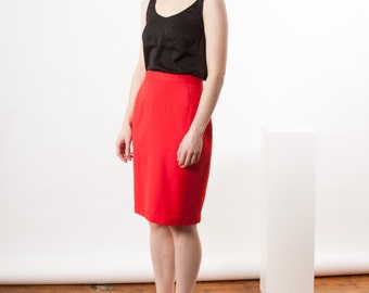 ON SALE Fitted High Waisted Skirt / Red Professional Skirt / Pencil Wool Skirt
