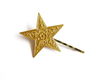 Art Deco Bobby Pin Gold Star Hair Clip Bride Bridal Bridesmaid Galaxy Space Constellation Wedding Night Sky Accessories Womens Gift For Her