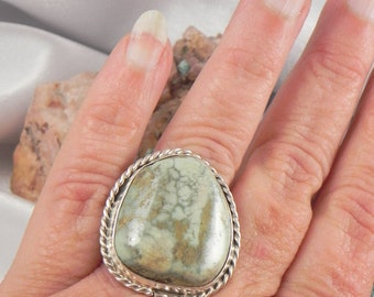 Turquoise Seafoam Green Sterling Silver Ring