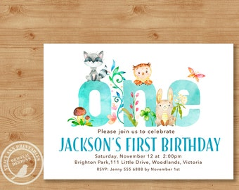 Woodland First Birthday Invitation |Boy Birthday Invite | 1st Birthday Woodland Party | Boy 1st Birthday | Printable DIY | 1515blue