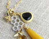 OUT OF TOWN - Busy Bee Pendant Necklace - Yellow Stone Teardrop Black Amber Glass Cluster Pendant Gold or Silver Chain Honeycomb Honey