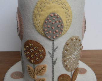 Folk Art Flowers on Cream - Felt Pincushion
