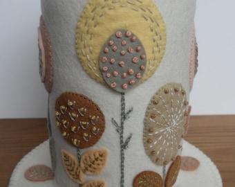 Folk Art Flowers on Cream - Felt Pincushion