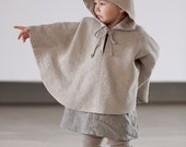 Hood cape Toddler clothes Poncho with Hood Cape Gray linen Hood coat Hoodies