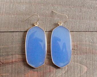 Gold Blue Chalcedony Elongated Stone Drop Earrings/ Large Gemstone Earrings/ Blue Chalcedony Stone/ Chandelier Drop Dangle (EGG10-BC)