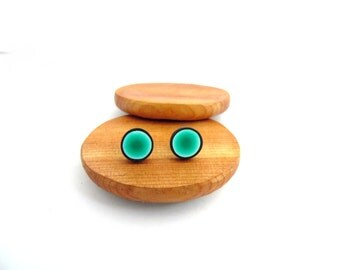 Turquoise Green Stud Earrings, Hypo Allergenic, Fimo Professional Polymer Clay & Stainless Steel, Supremily Jewellery
