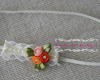 baby headband, Newborn photography props, petite vintage rosette on lace, newborn headband, Christmas headband, fall headband, red headband