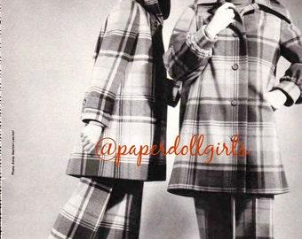 Vintage Fashion Magazine Ad French Vogue Paris 1970 Advertisement Haute Couture Plaid Wool Coat Bellbottoms Guy Laroche