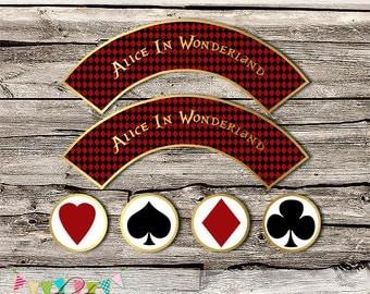 Alice In Wonderland Cupcake Wrappers & Toppers - Printable - DIY - Digital File - INSTANT DOWNLOAD