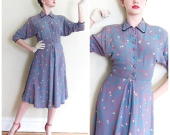 Vintage 1940s Rayon Print Shirtdress / 40s Novelty Print Blue and Magenta Day Dress / Small