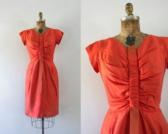 1960s Autumn Sunset silk wiggle dress / 60s golden pumpkin