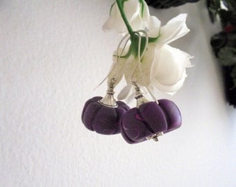 Purple Pumpkin Earrings (2332)